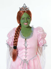 Princess Eig With Tiara Shrek Fiona Fancy Dress Wig Ladies Costume Accessory