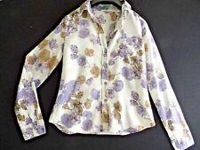 Benetton Blouse Sheer Woman Sz 10 UK Floral Cotton Button Down Summer Casual