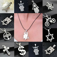 1Pc Fashion Women Men Pendant Necklace Chain Silver Stainless Steel Jewelry Gift