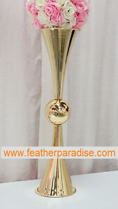 Tall Gold Vases Double Vases French Gold 25 inches Polished Metal Reversible