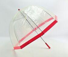 """Vintage Mod Child's Clear & Red Plastic Dome Bubble Umbrella 23""""L"""