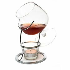CKB Ltd Brandy Cognac Snifter Warmer Glass Stand Gift Set With Tealight Cand