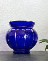 Antik Art Déco Zwiesel Glas Fachschule Vase Glasvase blau kobaltblau Golddekor