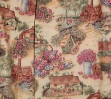 "English Cottage & birdhouse Design Curtains 42""  Wide,25"" Long, Made in the USA"