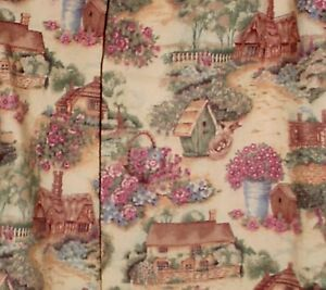 """English Cottage & birdhouse Design Curtains 42""""  Wide,25"""" Long, Made in the USA"""
