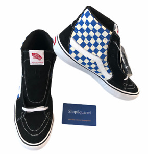 VANS SK8-HI PRO (CHECKERBOARD) BLACK BLUE SKATE SHOES MENS SZ 12 NEW NIB
