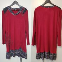 JOE BROWNS Red Jersey Tunic Layered Dress Long Sleeve Gathered Hem (UK Size 18)