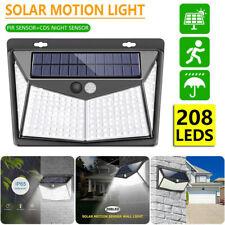 208 LED Outdoor Solar Powered Light PIR Motion Sensor Garden Security Wall Lamp