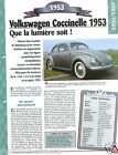 VW Volkswagen Coccinelle Export. 4 Cyl. 1953 Germany Car Auto Retro FICHE FRANCE