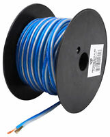 Rockville R14GBLS50 Silver/Blue 14 Gauge 50' Ft. Spool Car Audio Speaker Wire
