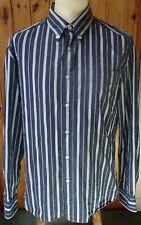 Blue Harbour/Marks & Spencer East Bay Poplin Blue Striped Shirt - Medium
