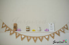 Rustic Hessian Bunting Burlap Banner Best Day Ever White Heart Wedding Flags
