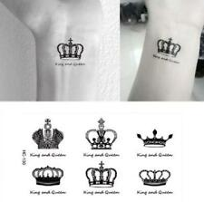 Small Crowns King Queen Black Fake Temporary Tattoo Stickers UK /-bm13-/
