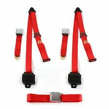 Ford Mustang 1967 - 1970  Airplane 3pt Red Retractable Bench Seat Belt Kit - 3