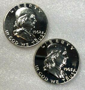 1962 & 1963 SILVER PROOF Ben Franklin Half Dollars 50c