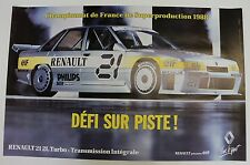 AFFICHE ORIGINALE RENAULT 21 2L TURBO Intégrale SUPERPRODUCTION 1988 ELF TBE