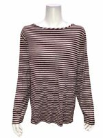Lisa Rinna Collection Women's Long Sleeve Striped Knit Top Burgundy X-Large Size