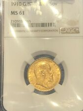 NGC Professionally Graded 1910 Full Gold Sovereign MS 61 Sonically Sealed Secure