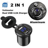 12V-24V 5V 4.2A Dual USB Car Cigarette Lighter Charger Socket Digital Voltmeter