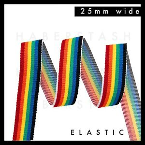 Rainbow stripe Elastic Waistband 25mm per metre waist band