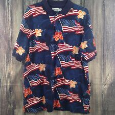 XL Hawaiian Polo Patriotic America Flags shirt Windham Pointe Size Mens