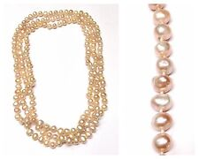 Long Chain Necklace Freshwater Pearls Endless 160 cm 8 mm Light Pink Cream