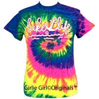 "Girlie Girl Originals ""Lake Life"" Neon Rainbow Tie Dye Short Sleeve T-Shirt"
