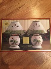 Lenox Holiday Gatherings Tea Light Lamps Set of Two In Box Never Used