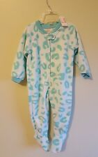 NWT Children's Place Girls 18-24 MONTHS Footed Sleeper MINT GREEN Leopard #24117