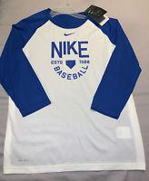 Nike Dri-Fit Boys Youth 3/4 Sleeve Baseball Raglan XL Blue White New with Tag