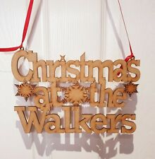 Personalised Christmas At The Family Surname Xmas hanging Sign Plaque Gift MDF