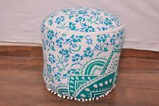 "22""Indian Handmade Cotton Mandala Round Ottoman Pouf Cover Ethnic Footstool Pouf"