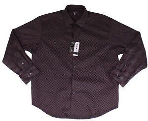 Alfani Mens Dress Shirt Black Size XL Geo Print Regular Fit Stretch $60 #061