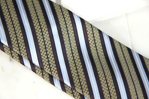 ZEGNA STRIPE TIE - BURGUNDY BLUE GOLD - NEW IN PLASTIC  - FREE BOXED SHIP