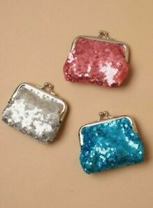 Metallic sequin fabric coin purse with ball snap clasp. Size 8 x 6cm. UK Seller.