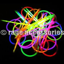 "GLOW STICKS 8"" INCH NEON BRACELETS NECKLACES PARTY FESTIVALS RAVE DISCO UK"