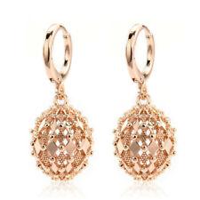 Women 18K Gold Filled Earrings Rhombus Hollow Sphere Dangle Fashion Stud Gift