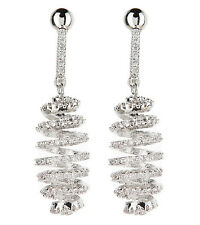 CLIP ON EARRINGS - silver luxury spiral earring with clear crystals - Cindy