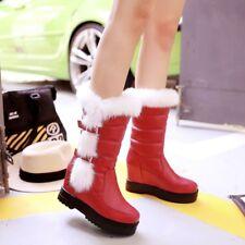 Women Cute Faxu Fur Hidden Wedge Heel Mid Calf Boot Winter Buckle Platform Boots