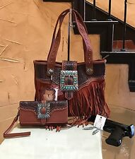 Trinity Ranch by Montana West Turquoise Concealed Carry Handbag+Wallet+Earrings