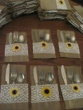 Wedding rustic burlap silverware holders trimmed in white lace sunflower