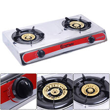 COSTWAY Stainless Steel 2 Burners LPG Gas Stove Cooker Hob Cooktop Kitchen