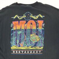 Destroyed Vtg MOI Restaurant Work T-Shirt 2XL Faded Black Distress Grunge Fish