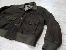 vintage POLO ralph lauren SHEEPSKIN leather bomber jacket LARGE brown