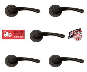 5 Sets of door handles 'Twist Lever on Rose' - Matt Black