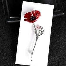 RED ENAMELLED POPPY BROOCH - SILVER PLATED STEM - FREE UK P&P........CG0932