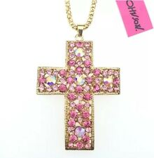 Betsey Johnson Necklace CROSS PINK Gold Crystals Religious Bling Pretty