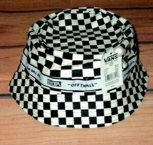 MENS VANS CHECKED BLACK WHITE BUCKET HAT SIZE M/L