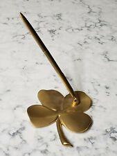 Vintage 24K Gold Plated Shamrock 4 Leaf Luck Clover Pen Holder