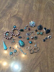 Sterling Silver Lot Of Single/Broken Earrings & Pendants 69.0 Grams